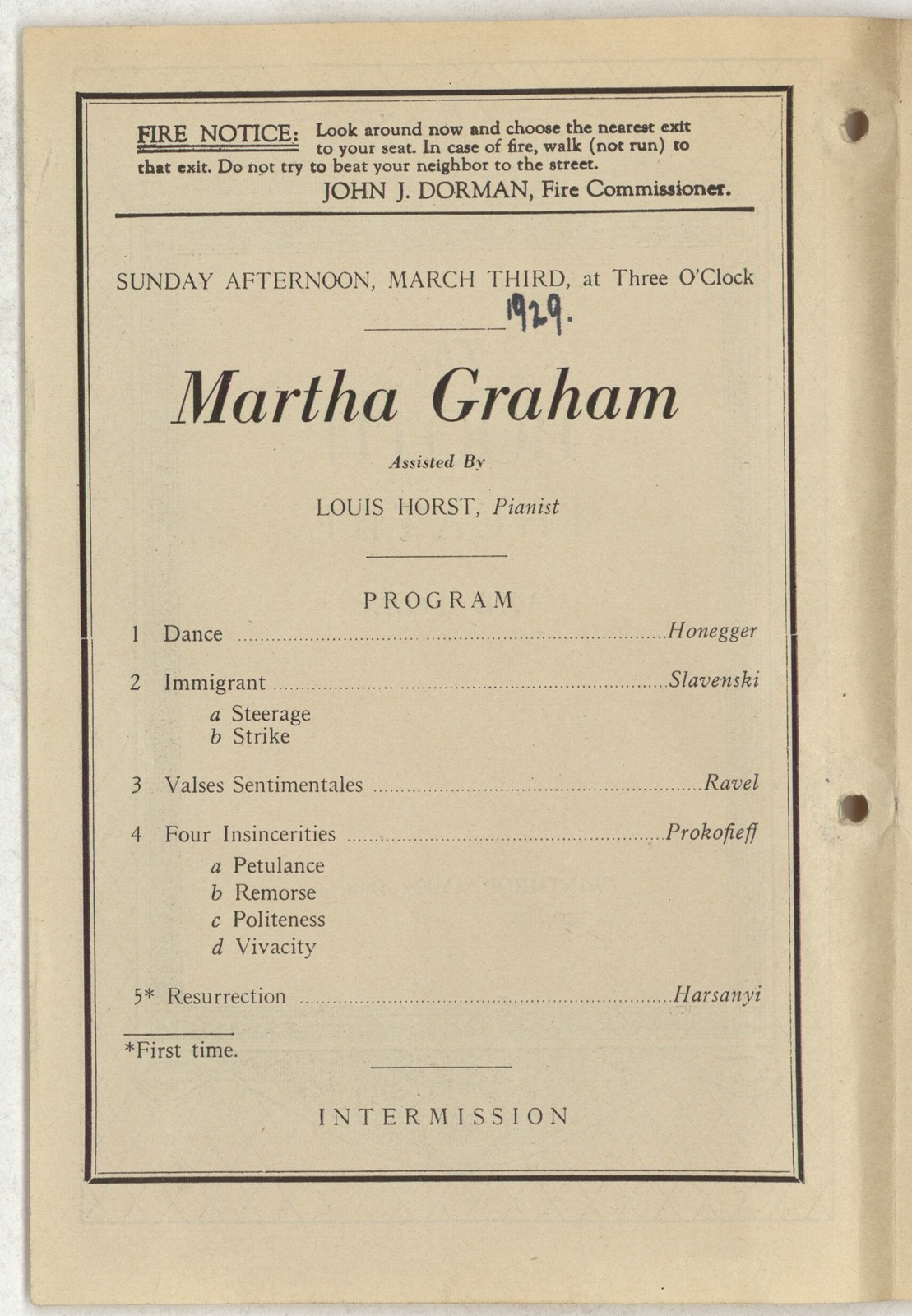 [ Martha Graham, Booth Theatre, March 3, 1929]