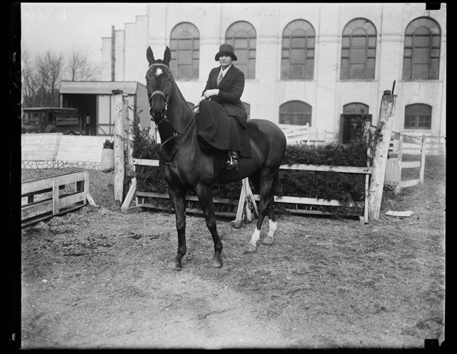 May be next cabinet lady. Mrs. William J. Donovan, wife of the Assistant Attorney General and who is now being prominently mentioned as Attorney General in the Hoover cabinet, is an ardent horsewoman and is frequent seen on the bridle paths around the National Capital
