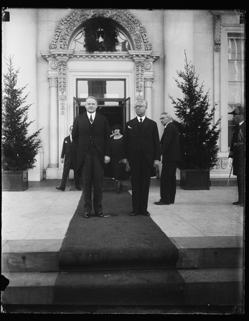 Mexico and United States. President Hoover today greeted the President-elect of Mexico. The two executives were photographed on the steps of the White House. Following this meeting the President-elect and Senora de Ortiz Rubio were visited at the Mexican Embassy by President and Mrs. Hoover