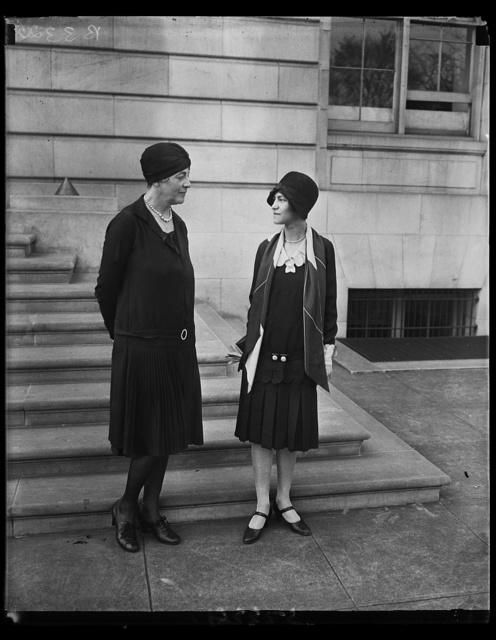 National Woman's Party to receive in honor of Rep. Ruth Bryan Owen. Rep. Ruth Bryan Owen, in whose honor the National Woman's Party is giving a reception at its headquarters April 11th, and Miss Mabol Van Dyke (right) chairman of the newly organized Young Woman's Council of the Woman's Party