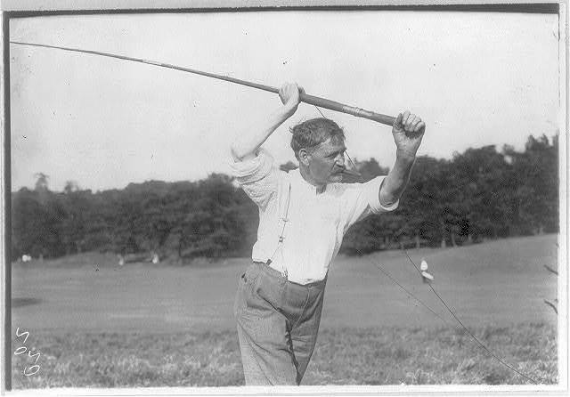 [N.Y.C. - Van Courtland Park - Fly casting tourney: unidentified man at beginning of cast]