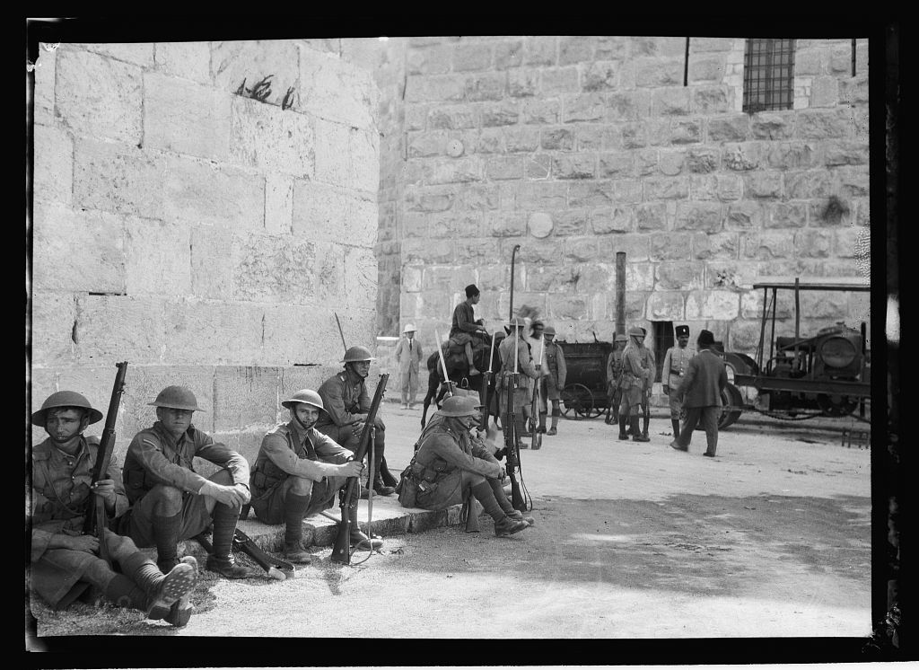 Palestine events. The 1929 riots, August 23 to 31. British troops at Jaffa Gate on guard during outbreak with steel helmets and fixed bayonets