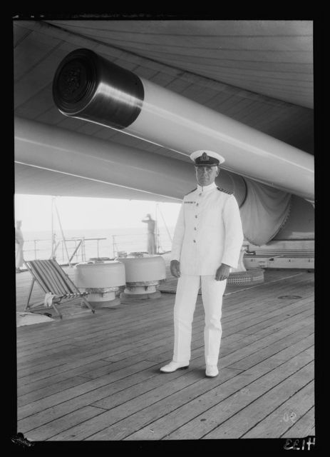 """Palestine events. The 1929 riots, August 23 to 31. Captain Hamilton commanding H.M.S. """"Barham."""" On board the cruiser in Haifa"""