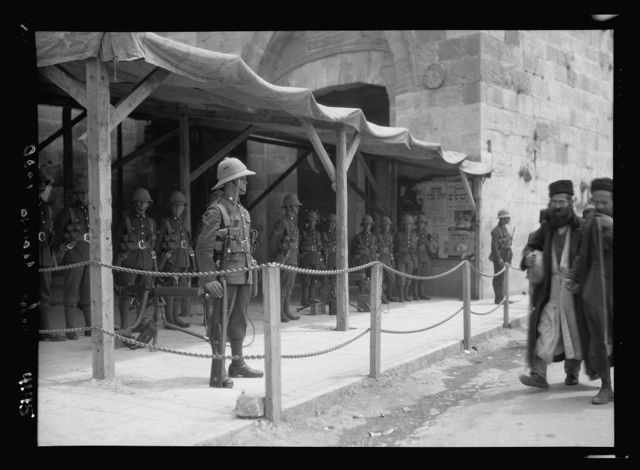 Palestine events. The 1929 riots, August 23 to 31. Troops and machine guns at Jaffa Gate on following Neby Mousa [i.e., Nebi Musa] celebration. Precaution against arrival of Hebron crowds
