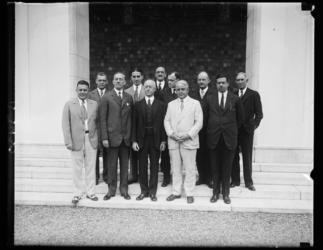 Pan American Union leaders luncheon to Minister of Nicaragua. The Director of the Pan American Union, Dr. Leo S. Rowe gave a luncheon in honor of the Minister from Nicaragua Dr. Juan B. Sacasa, today. In the front row, left to right: Lawrence Richey, secretary to President Hoover; Nicaraguan Minister Dr. Juan B. Sacasa; Secretary of the Navy Charles Francis Adams; Secretary of Labor, James J. Davis; Francis White, Assistant Secretary of State