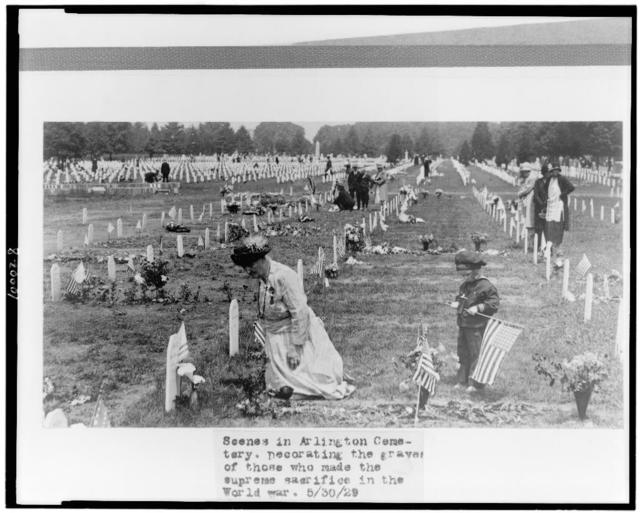 Scenes in Arlington Cemetery. Decorating the graves of those who made the supreme sacrifice in the World war