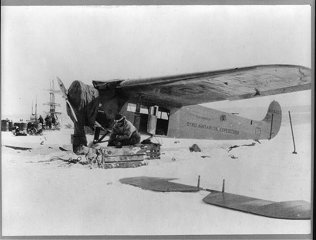 The Fokker monoplane in which Bernt Balchen, Lt. June, and Professor Gould were forced down in the unknown wastes of Antarctica while they were on a scientific flight