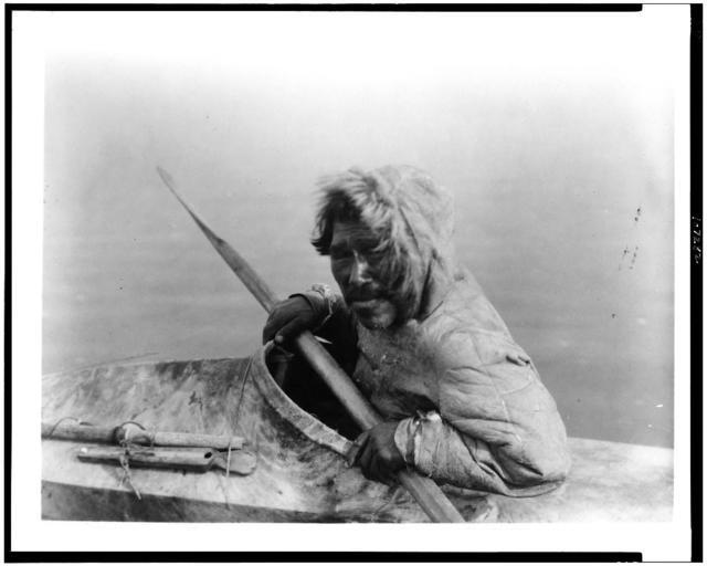 The seal-hunter, Noatak, in kayak, facing left