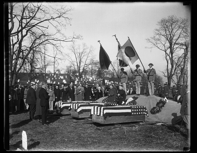 "United States soldiers who died in Russia during World War buried in Arlington. Impressive services marked the burial in Arlington National Cemetary today of three members of the ""Polar Bear Army,"" whose bodies were to this country from Russia. The men were Privates Elmer E. Steicher; Louis A. Szymanski; and James T. Ida, a Japanese. Services were conducted by the Veterans of Foreign Wars"