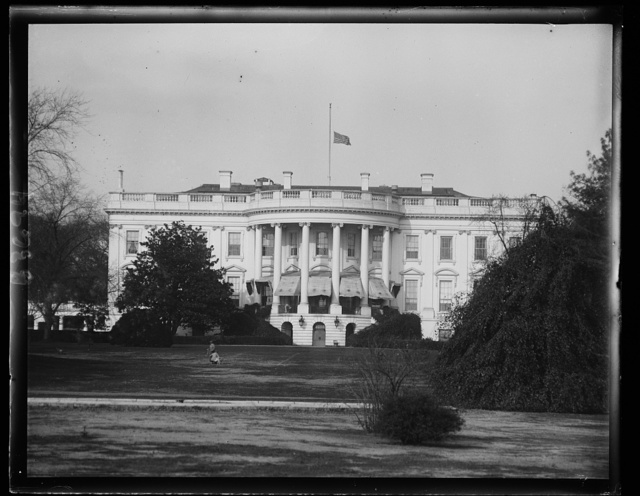White House flag at half-mast. The flag on the White House is never flown at half-mast except upon the occasion of the death of the President of the United States or an ex-president. But the rule has been broken as can be seen by this picture with the flag flying low today out of respect to the late Secretary of War Good