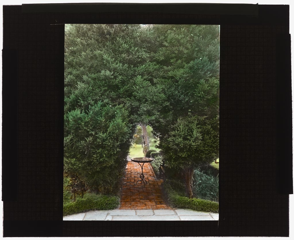 """[""""York Hall,""""  Captain George Preston Blow house, Route 1005 and Main Street, Yorktown, Virginia. Table in boxwood garden]"""
