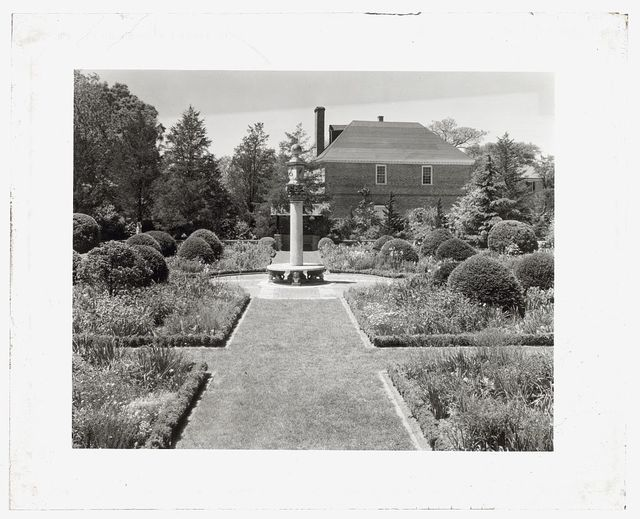 "[""York Hall,""  Captain George Preston Blow house, Route 1005 and Main Street, Yorktown, York County, Virginia. Sundial in the formal garden]"