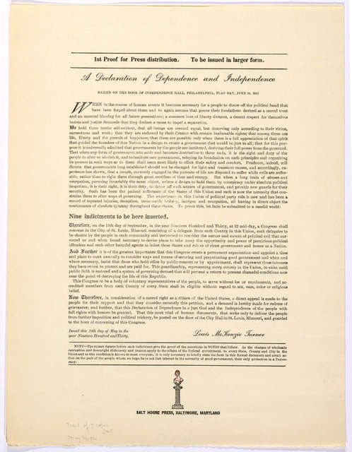 ... A declaration of dependence and independence nailed on the door of Independence Hall, Philadelphia, Flag day, June 14, 1910 ... Baltimore, Md. Salt House Press. 1930.