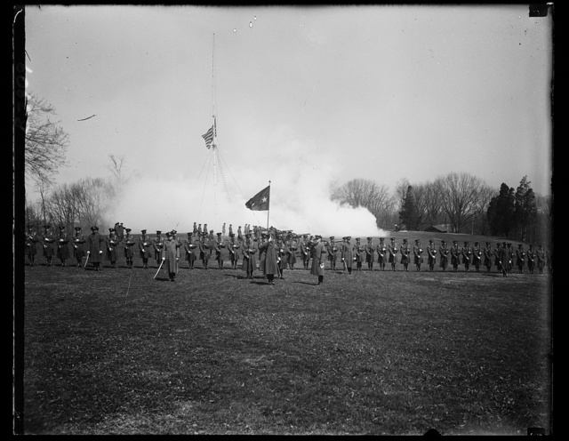 A scene on the parade grounds at Fort Meyer, Va. after General Guy V. Henry was sworn in as the guns reared a salute