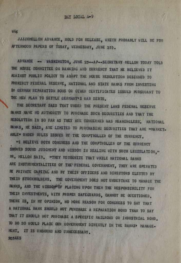 Associated Press, Washington, D.C., Bureau News Dispatches: 1930, June 21-30