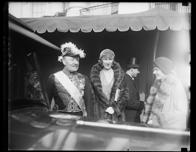 Belgian Ambassador and Princess de Ligne at White House New Year's reception, 1/1/30