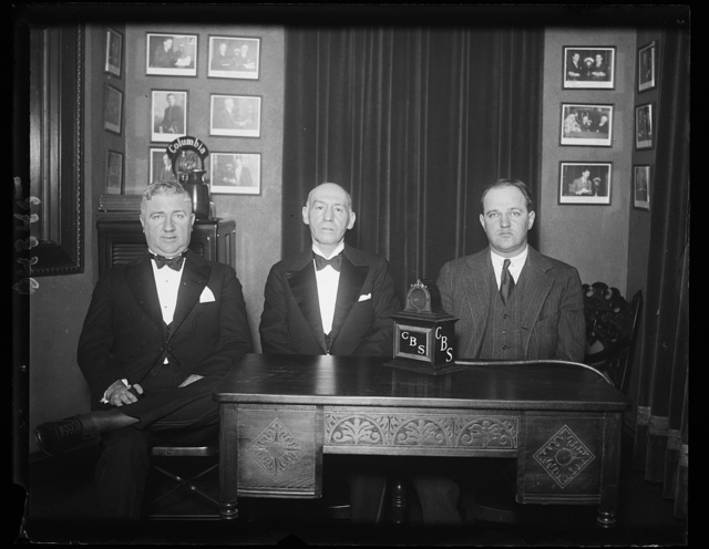 Broadcast message to veterans. A Christmas message to veterans and soldiers throughout the United States was broadcast over the Columbia network Wednesday, Dec. 17, by, left to right: Ralph T. O'Neil, National Commander of the American Legion; Gen. Frank T. Hines, Administrator of the Veterans' Bureau, and F. Trubee Davison, Assistant Secretary of War or Aviation. 12/18/30
