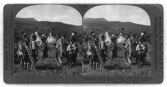 Chief Two-Guns-White-Calf and companions in Medicine Lodge Ceremony, Glacier Natl. Park, Montana