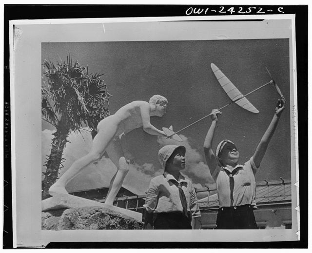 Children flying a model airplane in the USSR (Union of Soviet Socialist Republics)