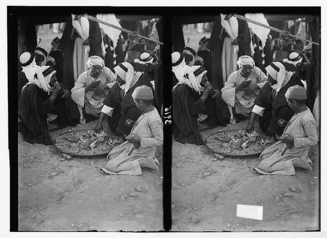 Close of the 1930 locust campaign. Bedouins racing and feasting at Beersheba on June 30th, 1930. Part of the Beersheba feast. Group of Bedouins eating from a tray of savory rice and mutton