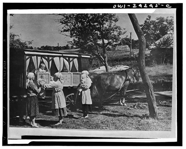 Collective farm nursery-on-wheels in the USSR (Union of Soviet Socialist Republics)