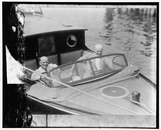 Colonel H.P. Sheldon, U.S. Game Commissioner, and Hon. R.W. Dunlap, Assist. Secretary of Agriculture, aboard the new speedboat recently purchased by the Department of Agriculture for use in enforcing the migratory bird law in the Potomac River. The boat is fully equipped, and will run 30 miles an hour