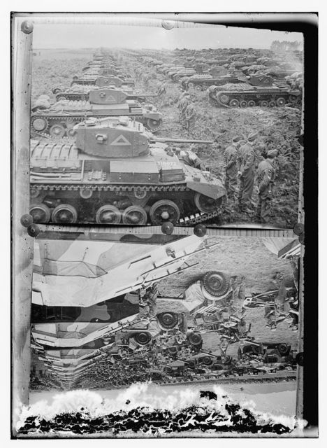 [Copy photograph of tanks and soldiers (top); copy photograph of artillery pieces and soldiers (bottom)]