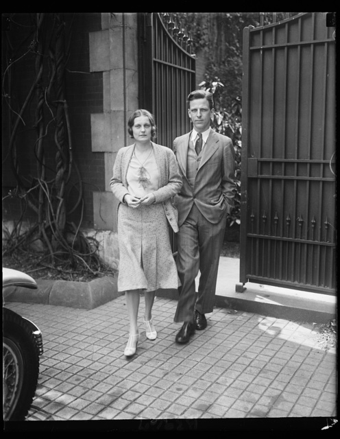 Daughter of Chairman, Republican National Committee to wed Washington writer. Alice Huston, attractive daughter of Claudius Hurten, Chairman of the Republican national committee, is reported engaged to Fulton Lewis, Jr., with whom she is shown in this photograph. Lewis is a native of Washington and has been doing newspaper work here for a number of years