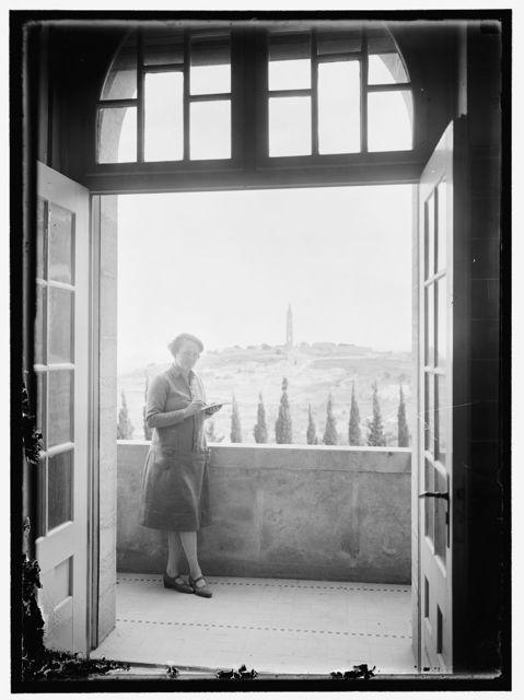 [Edith Matson on balcony of her home in Jerusalem, Mount Scopus in the backgroud]