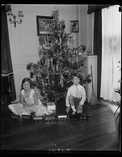 Elizabeth and J. Hamilton Fish, 3rd, children of Rep. and Mrs. J. Hamilton Fish of New York, and their attractive Christmas tree