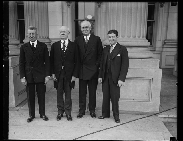 Follow their fathers' footsteps in Senate. These four senators are sons of former senators. Left to right: Frederick Hale, Maine; Guy D. Goff, West Virginia; Robert D. Cary, Wyoming, and Robert Lafollette, Wisconsin. 12/3/30