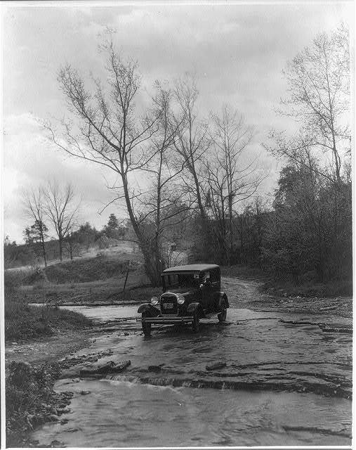 Ford automobile in creek in Oldham County, Kentucky