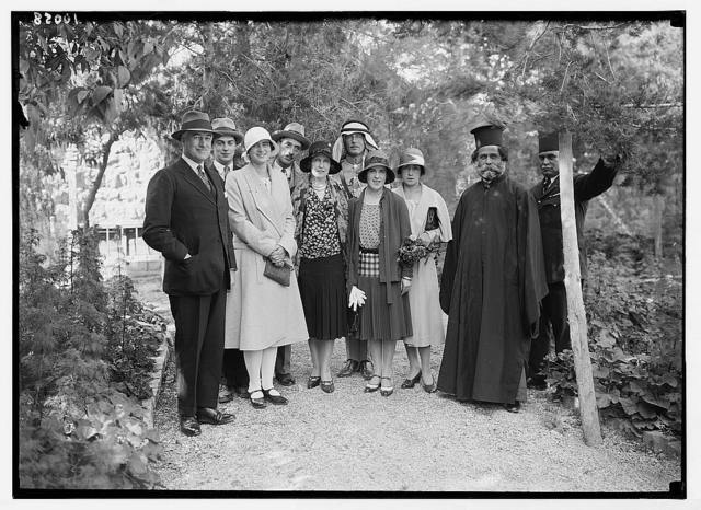 Garden group at Sir John Chancellor's Residency with Princess Ileona of Roumania, the Greek Bishop, [?] pasha, etc.