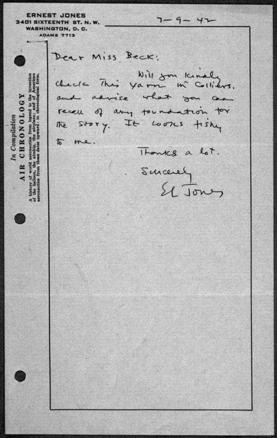 General Correspondence:  Jones, Ernest L., 1930-1945