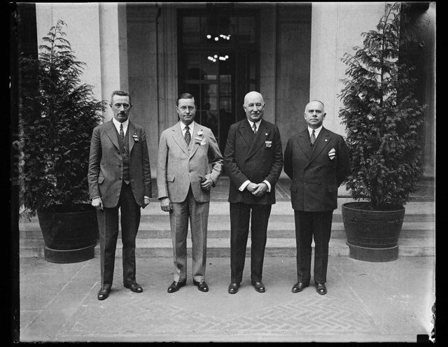 Heads of the International Road, Congress. The sixth congress of the permanent International Association of Road Congresses got under way with a large gathering from all corners of the earth. The meeting is presided over by the four men pictured, left to right, Monsieur Paul de Gavrian, Secretary General, Mr. Roy D. Chapin, President General, Monsieur Edmund Chai, Acting President General, and Mr. Thomas H. MacDonald, Secretary General of the Congress