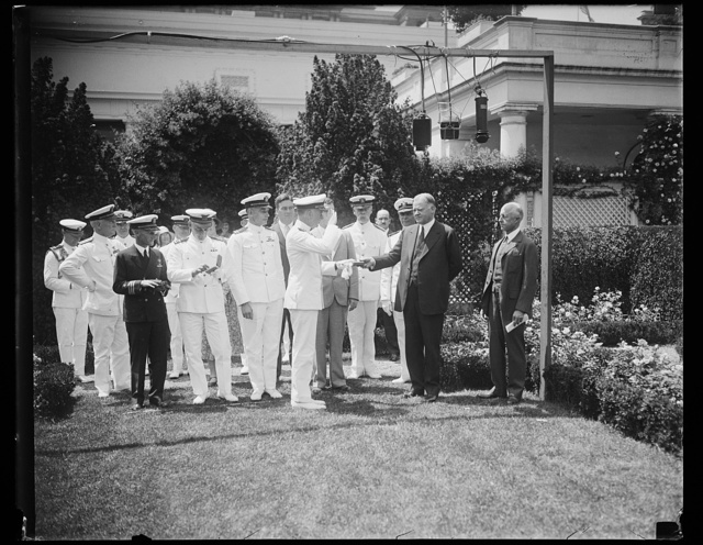 [Herbert Hoover and Navy group outside White House, Washington, D.C.]
