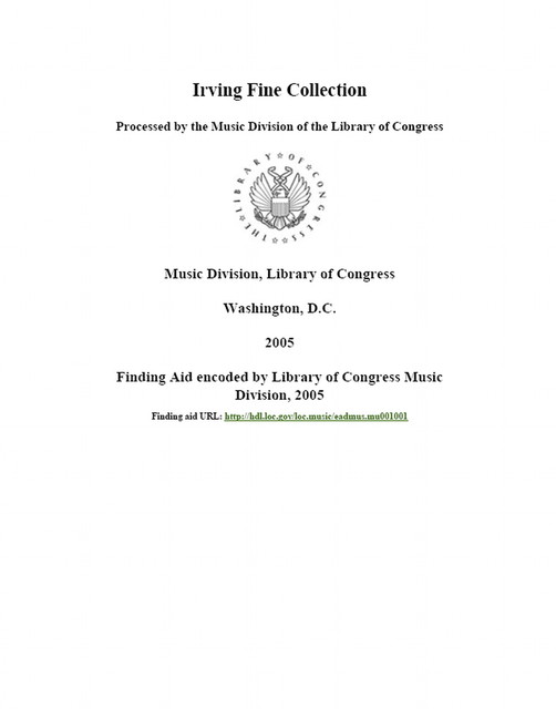 Irving Fine collection