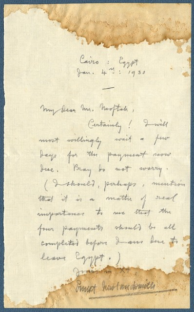 Letter from Ernest Newlandsmith to Ragheb Moftah, January 4, 1930