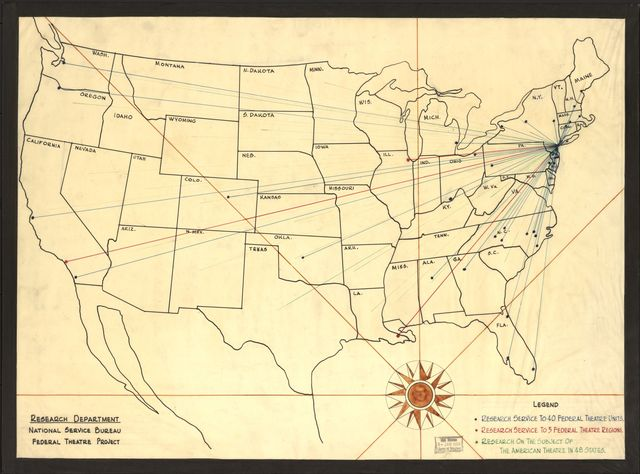[Map showing] research service to 40 Federal Theatre units, research service to 5 Federal Theatre regions, research on the subject of the American theatre in 48 states /
