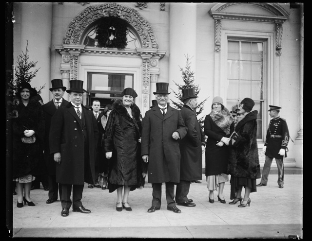 New Years Day at the White House. Mr. Gann, Mrs. Gann (sister of the vice president) and Vice President Curtis, as they left the New Year's reception at the White House