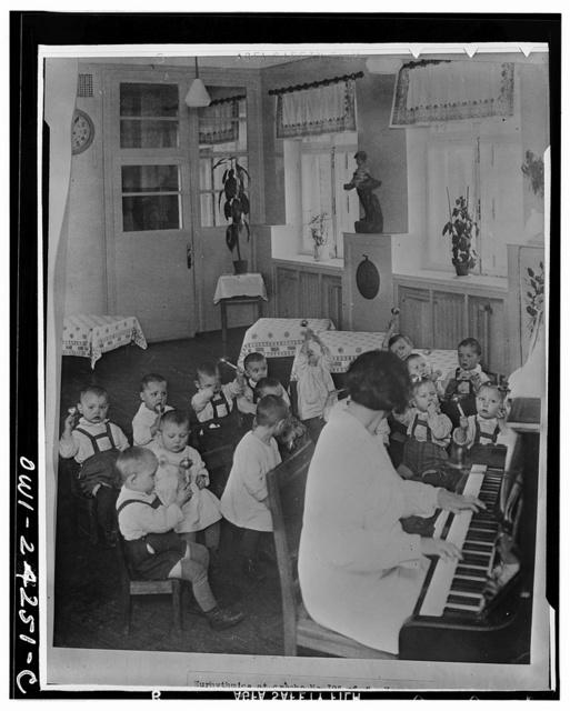 Nursery school children having music and rhythms in the USSR (Union of Soviet Socialist Republics)
