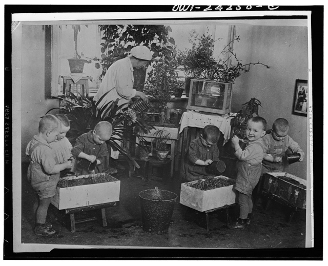 Nursery school children taking care of plants in the USSR (Union of Soviet Socialist Republics)