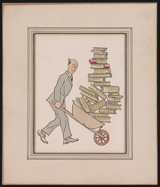 [Philadelphia bookseller George J.C. Grasberger, full-length portrait, facing right, pushing a wheelbarrow piled high with books] / WK [monogram].