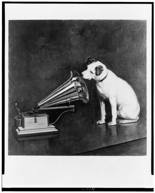 "[Photograph of the painting ""Dog looking at and listening to a phonograph,"" by Francis Berraud in 1898]"