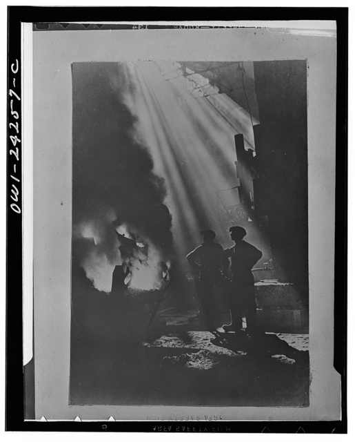 Pouring molten steel into pigs in the USSR (Union of Soviet Socialist Republics)