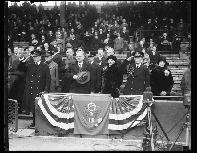 Pres. and Mrs. Hoover at Marine-Coast Guard football game