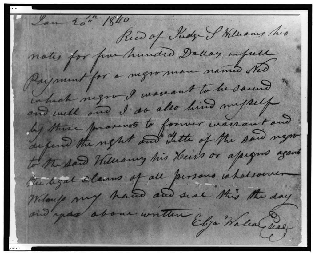 [Receipt for $500.00 payment for Negro man, January 20, 1840]