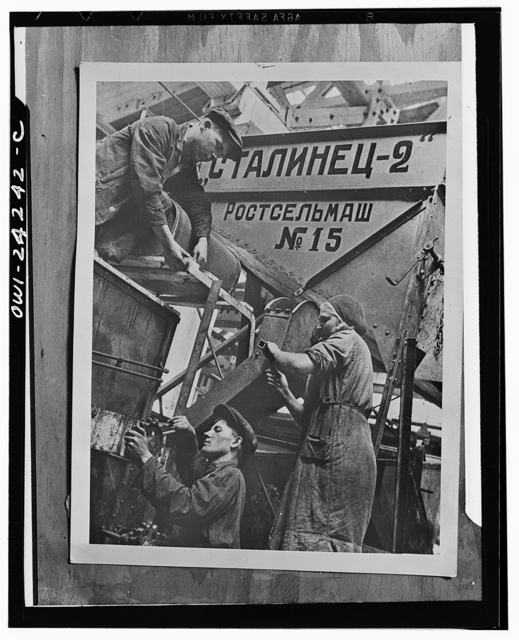 Rostov-on-Don, USSR (Union of Soviet Socialist Republics). Men and women workers at combine factory