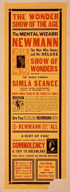 The mental wizard, Newmann the man who knows and his deluxe show of wonders : featuring the world famous Simla seance.