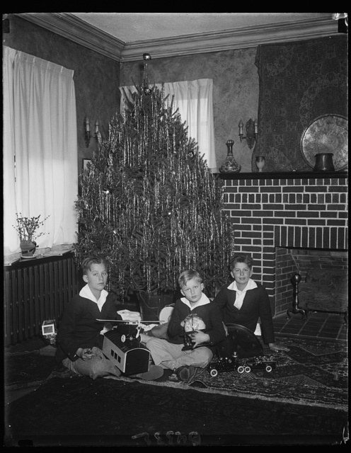 These happy boys grouped about their Christmas tree are George, Jr., Clarkes, and Frederick, the sons of Mr. and Mrs. George Akerson. Mr. Akerson is President Hoover's Secretary